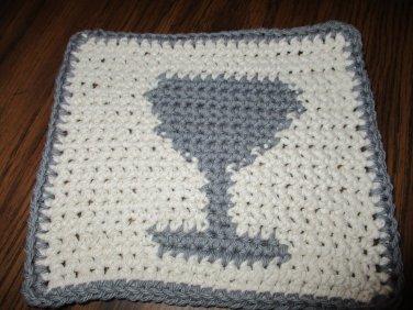 Crochet Wine Glass dish cloth 100% cotton