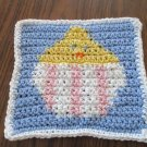 Crochet Easter Chick in egg dish cloth 100% cotton