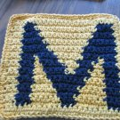 Crochet Marquette Golden Eagles dish cloth 100% cotton