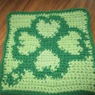 Crochet Four Leaf Clover dish cloth 100% cotton