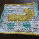 Crochet  baby carriage buggy washcloth 100% cotton
