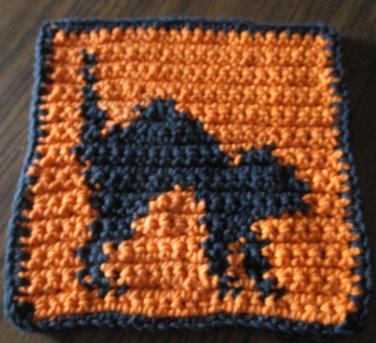 Crochet Halloween black cat dish cloth 100% cotton