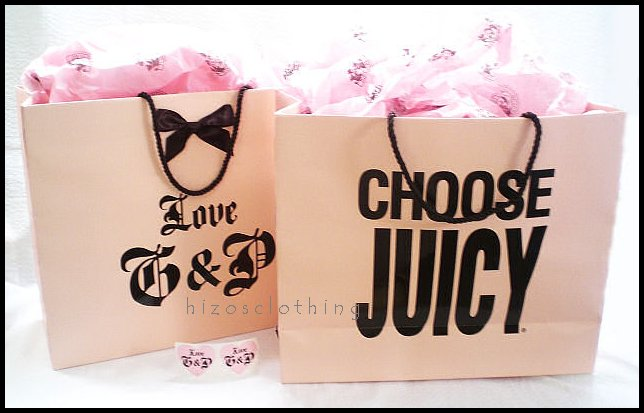 Juicy Couture 2 Large Gift Bag Tissue Paper & Stickers Set
