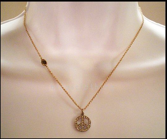 Authentic Juicy Couture Pave Peace Wish Necklace NIB
