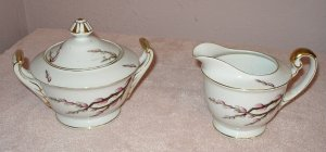 PUSSY WILLOW vintage cream & sugar bowls JAPAN