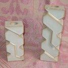 ?FRANKOMA? Two MOD creamy white & sand glaze ceramic candle holders
