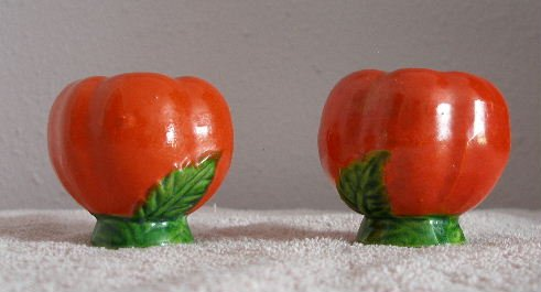 Japan vintage whimsical tomatoes salt & pepper shakers