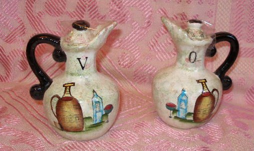 Vintage ceramic vinegar oil cruet set marked MINT