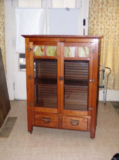 Mission arts&crafts kitchen jelly cabinet..slag glass!!