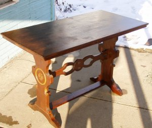 Limbert style mission arts&crafts oak trestle table