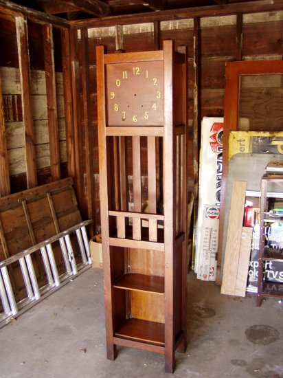 Mission oak grandfather hall clock case