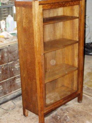 Antique Mission solid oak china cabinet