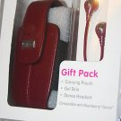 NEW BlackBerry Curve headset + leather pouch RED + Skin