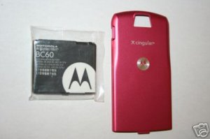 OEM Motorola L7 SLVR Battery BC60 +Back Door Cover Pink