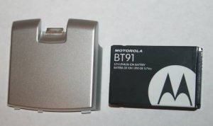 OEM Motorola Q Extended Back Cover Silver+ Battery BT91