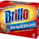 New Brillo Strip and Shine Steel Wool Balls Soap Free, 6 steel wool balls In Box