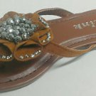 New Link Girls Faux Sparkle Diamond Flower Flip-Flops Sandals - Tan Brown