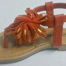 New Link Toddler Girls Pom-Pom Flower Sandals - Orange