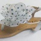 New Link Girls Polka Dot Flower Sandals Black or White