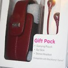 NEW BlackBerry Curve 8300 series headset + leather pouch RED + Skin