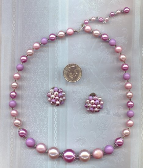 Vintage Lavender Bead Necklace Earring Set signed Japan