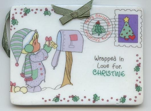 1992 Samuel J Butcher Enesco Christmas Porcelain Ornament Tag Christine