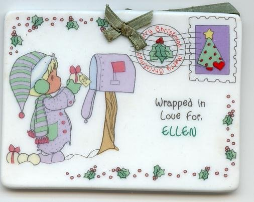 1992 Samuel J Butcher Enesco Christmas Ornament  Tag Ellen