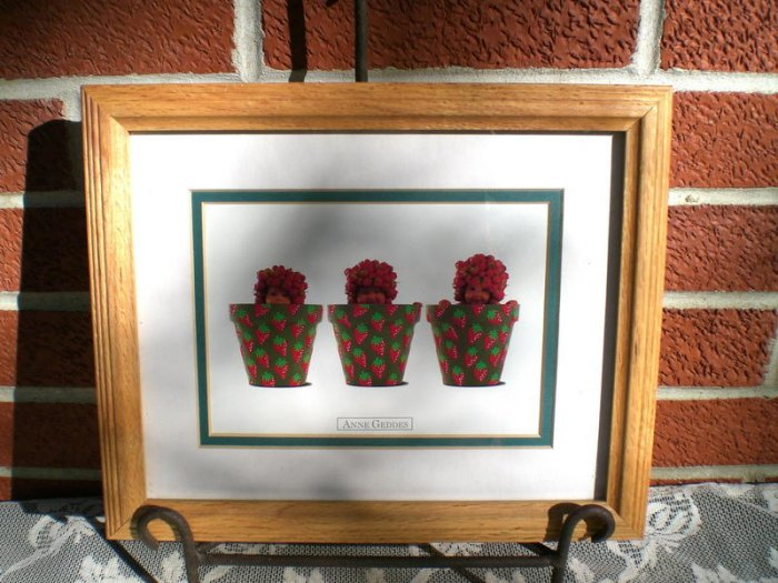 Beautiful Anne Geddes Strawberry Flower Pots Babies Red Green colors Frame with glass