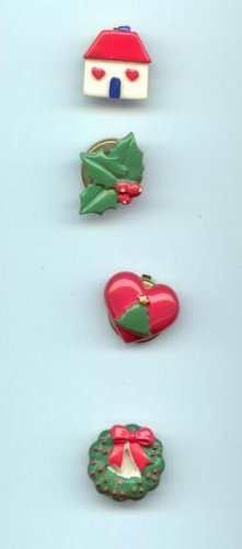 Vintage Set of 4 Christmas Holiday House Wreath Holly Christmas tree Button Covers