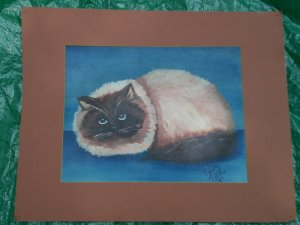 Unique Siamese Cat Picture Painted by a 13 year old boy Kenny Pierce 1984