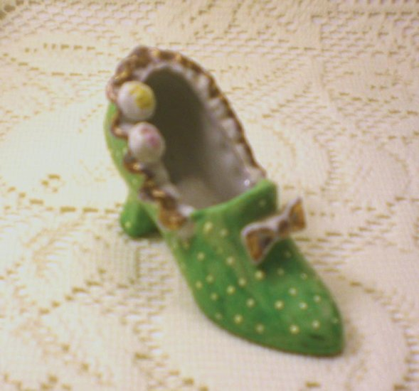 Vintage Tiny Green Shoe with polka dots made in Japan