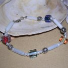 Cane Glass bead, glass pearl and sliver-tone bead bracelet or anklet