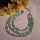 Turquoise Fashion Glass Bead and Pearl Necklace, Beige Glass Pearls