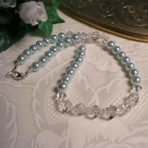 Blue Pearl and Crystal Choker