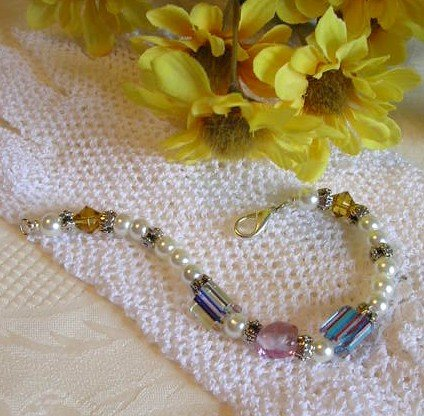 Cane Glass Bead Bracelet With Pearls