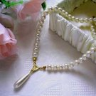 Ivory Pearl Necklace With Teardrop Pearl Pendant