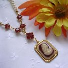 Pearl Necklace With Carnelian Rhinestones and Cameo Pendant