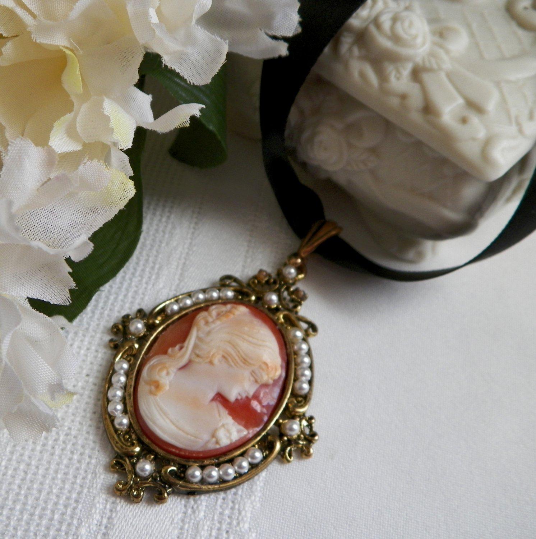 Shell Cameo Pendant Black Satin Ribbon Necklace