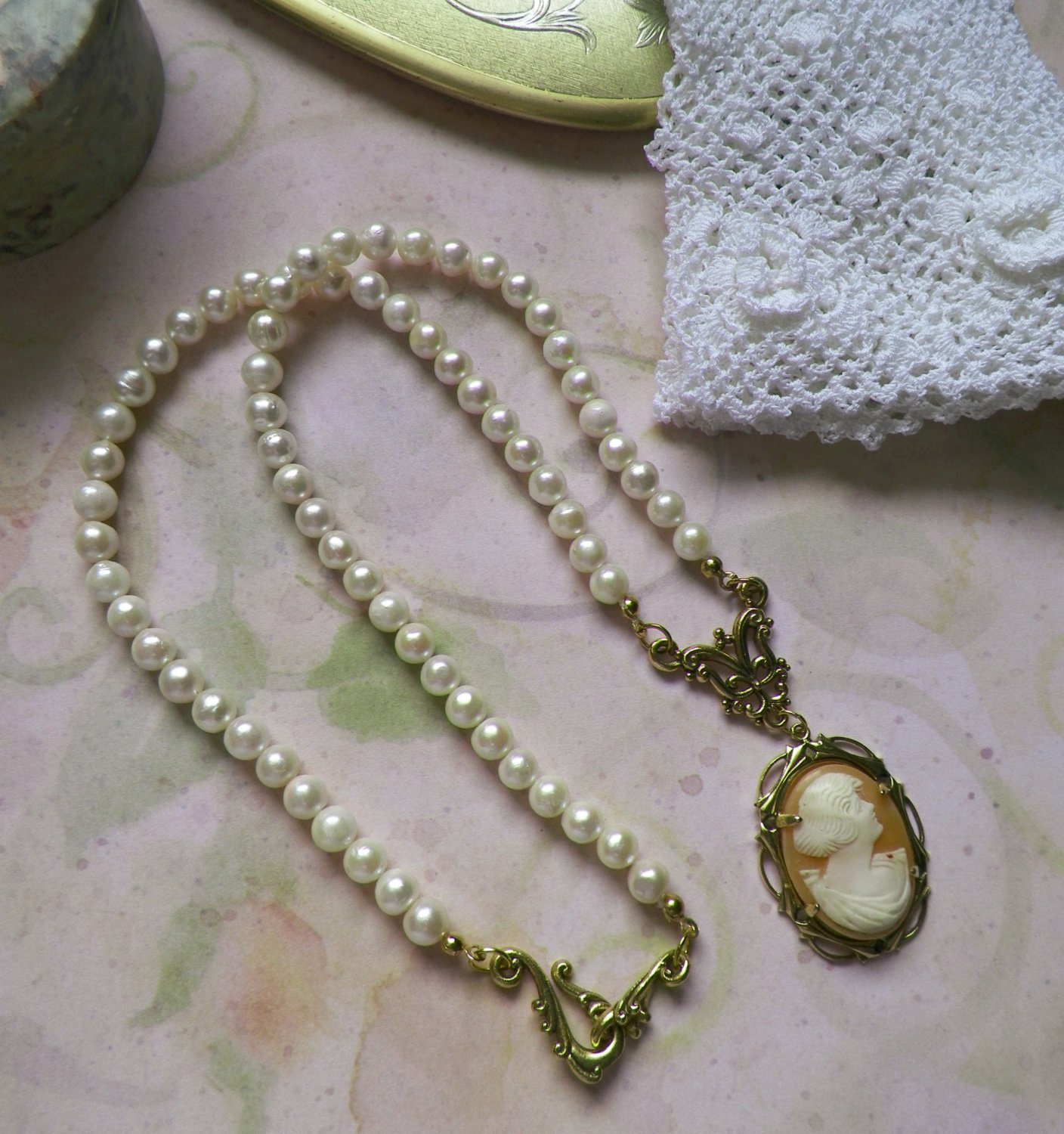 Genuine Pearl and Shell Cameo Necklace