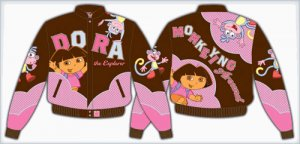 "2008 DORA THE EXPLORER ""MONKEYING AROUND"" KIDS BROWN TWILL JACKET"