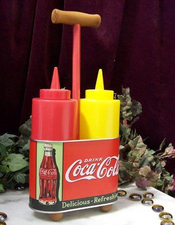 Coke Bottle Mustard & Ketchup Caddy