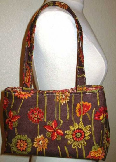 The Mabel Handbag - Brown Flower
