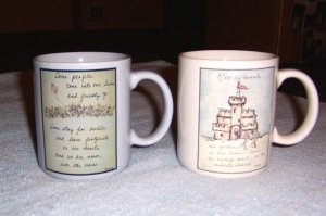 FLAVIA WEEDN 2ea Coffee Cups Hot Chocolate Mugs - Sand Castle , Field of Flowers & Kite