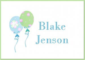 Boy Balloons PERSONALIZED Note Enclosure Cards