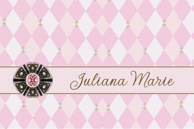 Harlequin Pink Fleur de Lis PERSONALIZED Note Cards