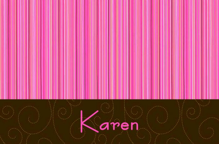 Pink & Brown Stripe Personalized Note Cards KAREN