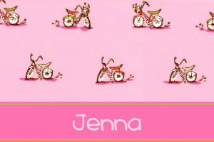 Pink Bicycle Girl Bike PERSONALIZED Note Cards