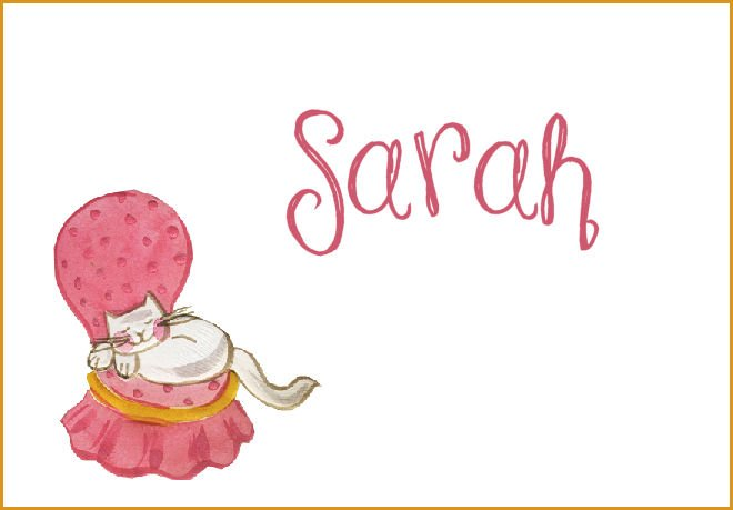 Pink Chair Cat Sleeping PERSONALIZED Note Cards Gift