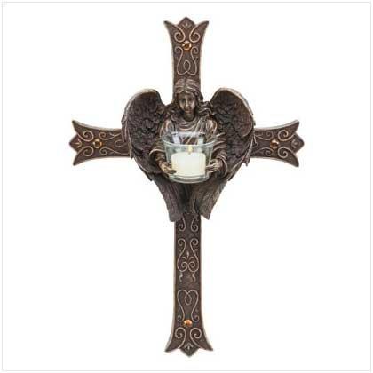 Angelic Cross Candle Holder - 33528