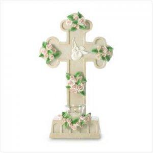 Rose-Laden Cross Candleholder - 36506